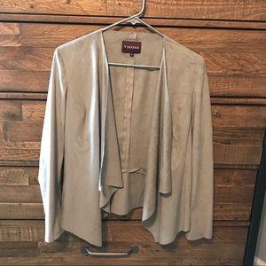 Vigoss Faux Suede Gray Wrap Jacket/Blazer